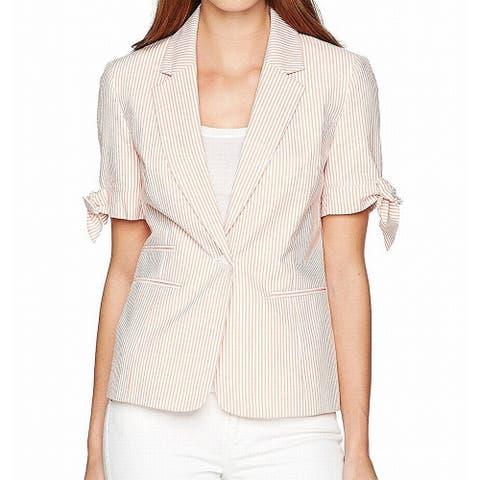 Nine West Women's Blazer White Orange Size 12 Pinstriped Single-Button