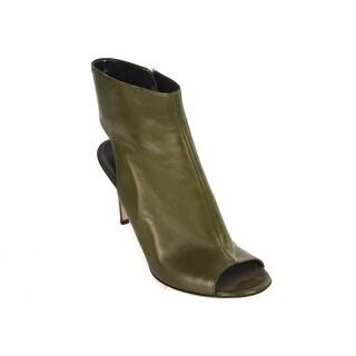 Gianvito Rossi Women's Dark Olive Leather Open Heel Pump