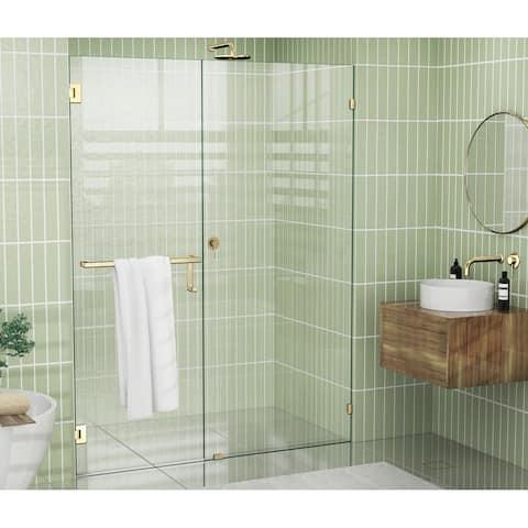 """Glass Warehouse 78"""" x 59.5"""" Frameless Towel Bar Shower Door - Wall Hinge"""