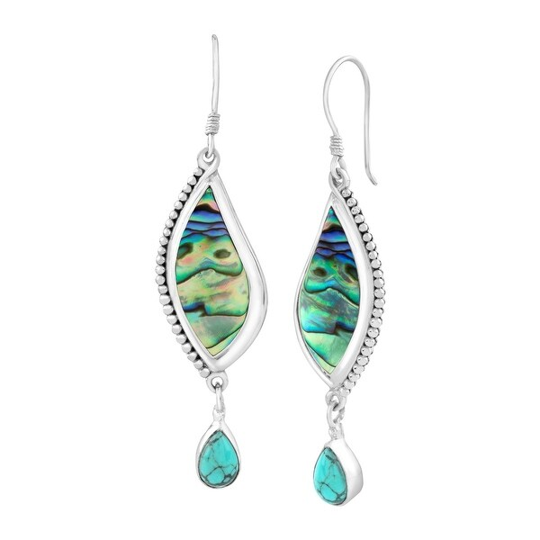 Sajen Paua Shell & Turquoise Drop Earrings in Sterling Silver - Blue