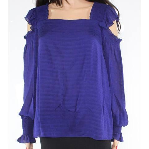Chelsea and Walker Women's Blouse Top Purple 8 Ruffled Smocked Silk