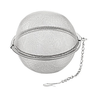 Home Stainless Steel Round Mesh Spice Filter Tea Infuser Strainer Silver Tone