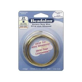 Beadalon German Style Wire Sq Fancy 21ga Gold 2.5M