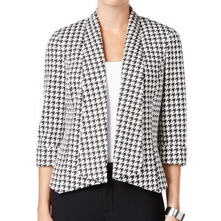 Kasper NEW Black Ivory Women's Size 16 Houndstooth Open Front Jacket