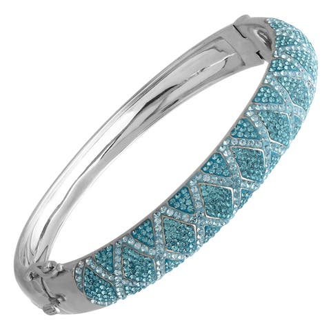 Crystaluxe Harlewuin Bangle Bracelet with Swarovski Crystals in Sterling Silver - Blue