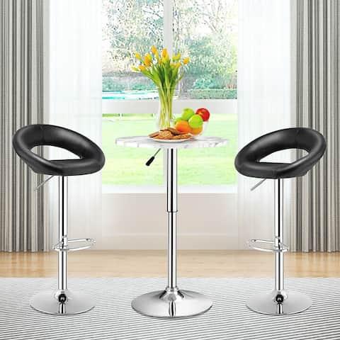 Set of 2 Swivel Bar Stools Adjustable Barstools PU Leather Pub Chairs