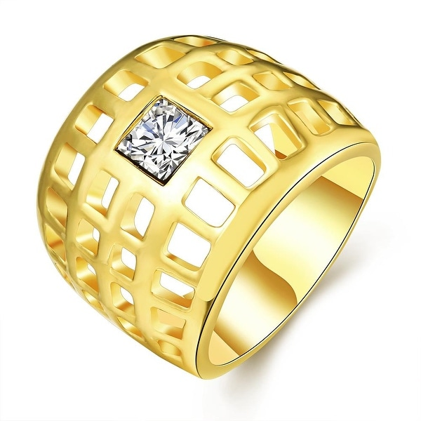 Gold Plated Laser Cut Grid Geo Ring