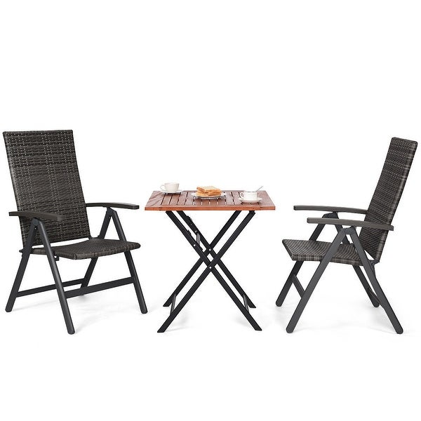 Costway 3pcs Patio Rattan Folding Reclining Chairs Table Set Indoor Outdoor Furniture Of 3