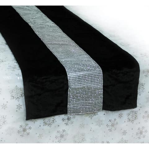 """5.5' x 16"""" Black and Silver Color Velveteen Bejeweled Christmas Table Runner"""