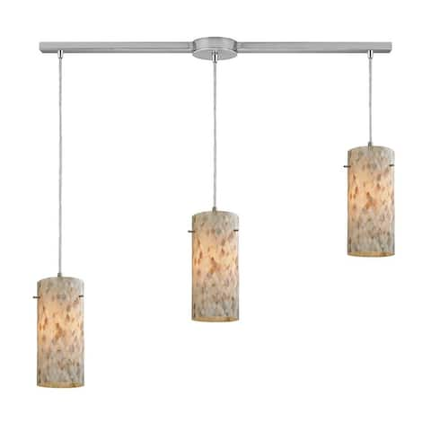 Carlyle Knoll - Three Light Linear Pendant Satin Nickel Finish with