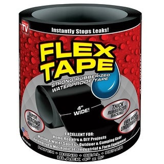 "Flex Seal TFSBLKR0405 Waterproof Repair Tape, Black, 4"" x 5'"