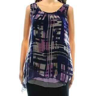 Four Square NEW Black Purple Women's Size Medium M Printed Blouse Silk