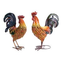 "Set of 2 Country Rustic Farm Rooster Decorative Table Top Figures 17.25"" - Multi"