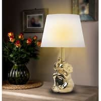 "Kanstar 19"" Ceramic Elephant Gold Silver Finish Table Lamps (Gold)"