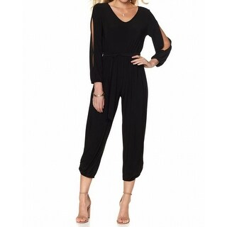 Antthony NEW Black Womens XS Matte-Jersey Split-Sleeve Cropped Jumpsuit