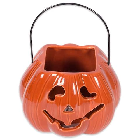 "7"" Orange Pumpkin Treat Bag Lantern Halloween Decor"
