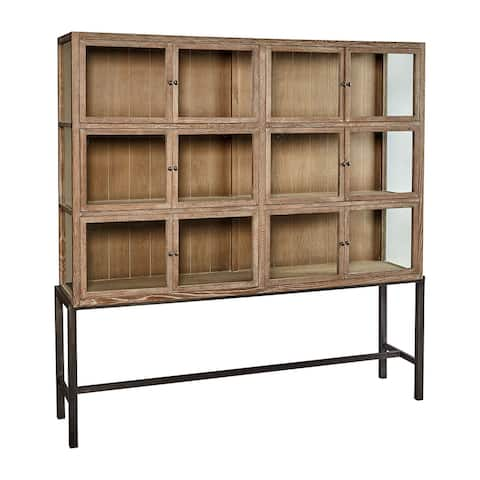 Bleecker Oak & Iron Glass Cabinet Museum Display Case, 12-Door