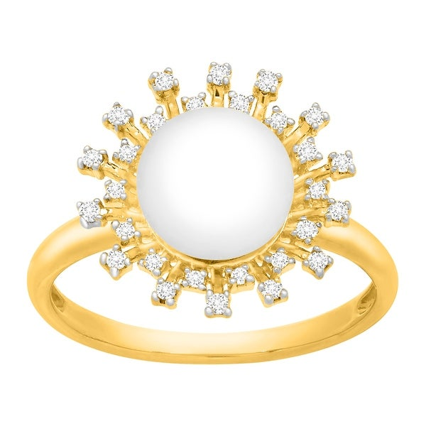 8mm Button Freshwater Pearl & 1/8 ct Diamond Ring in 14K Gold