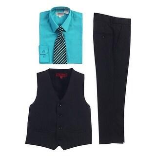 Gioberti Mint Black Vest Pants Striped Tie Shirt 4 Pc Formal Set