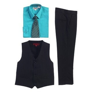 Gioberti Mint Black Vest Pants Striped Tie Shirt 4 Pc Formal Set (4 options available)