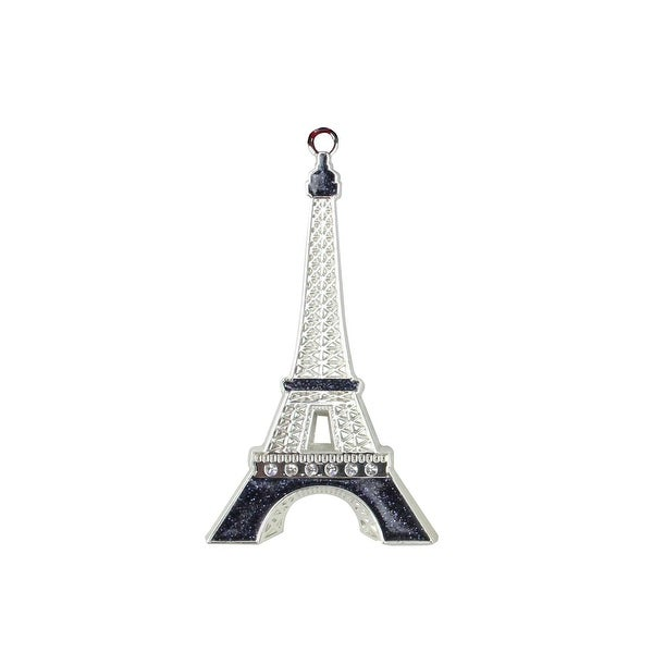 "3.5"" Silver Plated with Crystal Accents Eiffel Tower Christmas Tree Ornament"