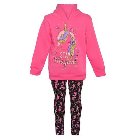 Girls Pink Little Girls Fuchsia Unicorn Hooded Sweatshirt Leggings Outfit