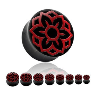Horn Saddle Plug with Red Lotus Inlay (Sold Individually) (More options available)