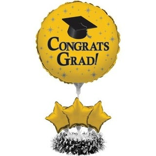 "Pack of 4 Yellow Graduation ""Congrats Grad"" Air-Filled Balloon Foil Centerpiece Kit 30"""