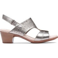 97223a49cb Shop Clarks Women's Abigail Lily Strappy Sandal Pewter Suede - On ...