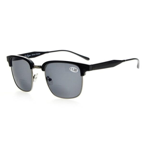 Eyekepper Womens Bifocal Sunglasses Semi-Rimless Grey Lens +2.25