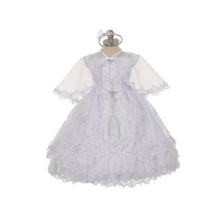 Rain Kids Baby Girls White Virgin Mary Ruffles Organza Cape Baptism Dress 6-12M