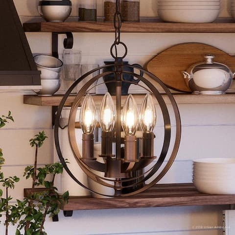 """Luxury Industrial Chic Pendant Light, 11.75""""H x 10.125""""W, with Modern Farmhouse Style, Olde Bronze Finish by Urban Ambiance"""