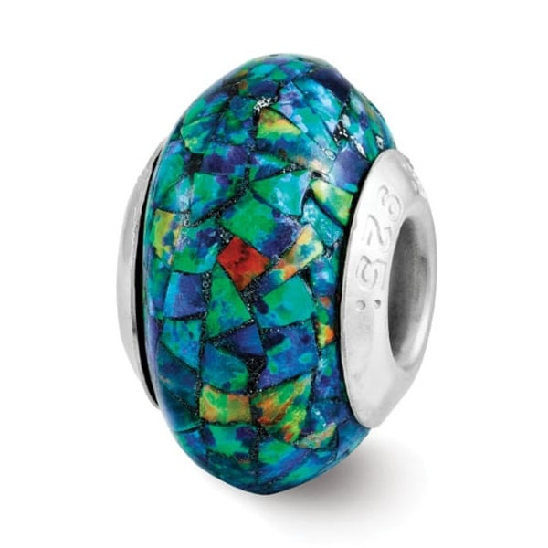 Sterling Silver Reflections Synthetic Opal Mosaic Bead (4mm Diameter Hole)