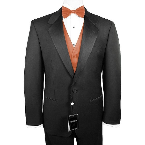 8d9e37e05918 Neil Allyn 7-Piece Formal Tuxedo with Pleated Front Pants, Shirt, Peach Vest