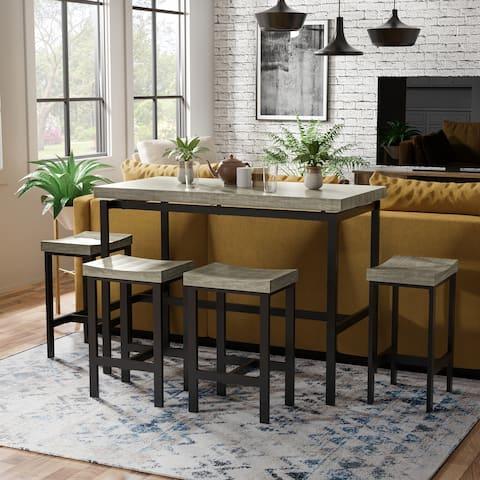 Furniture of America Feri Contemporary Brown Metal 5-piece Dining Set