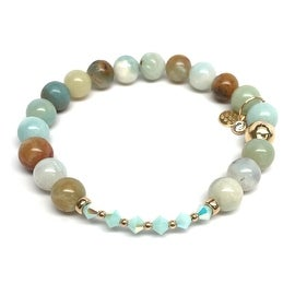 Green Amazonite 'Daisy' Stretch Bracelet, Swarovski Crystal 14k over Sterling Silver