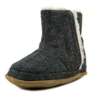 Robeez Morgan Bootie Infant Round Toe Canvas Gray Bootie