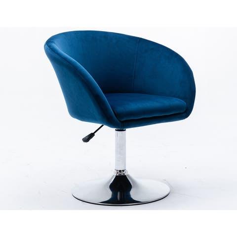 Best Master Furniture Adjustable Velvet Swivel Barrel Chair