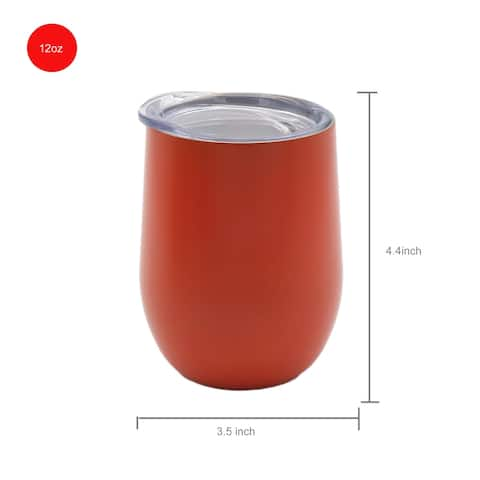 12 OZ Stainless Steel Vacuum Insulated Double Wall Wine Tumbler with Lid Hot for 6 Hours Cold for 12 Hours Tangerine
