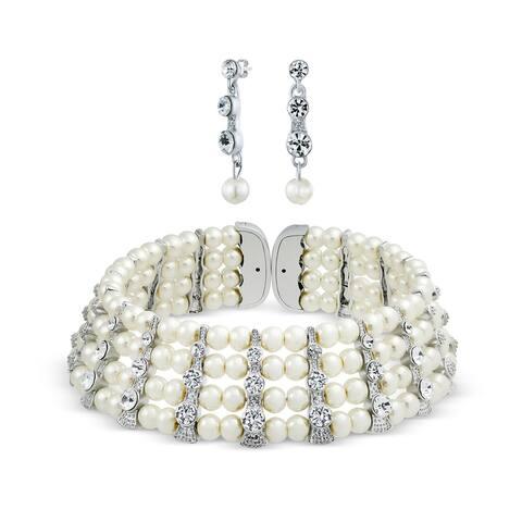 Bridal Set Crystal Bar Choker Statement Necklace Earring White l