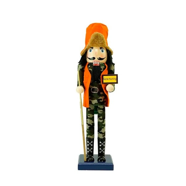 "15"" Decorative ""Gone Hunting"" Wooden Christmas Nutcracker in Fatigues - ORANGE"