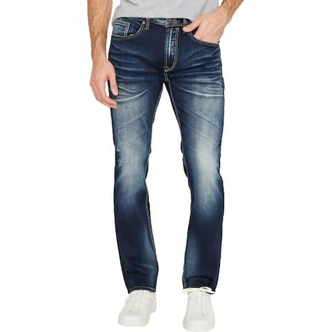 Buffalo David Bitton Mens Ash-X Slim Leg Jeans Denim Distressed - Heavily Sanded