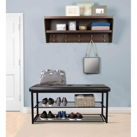 2 Tier Black Entryway Shoe Rack Bench with Cushioned Faux Leather Seat