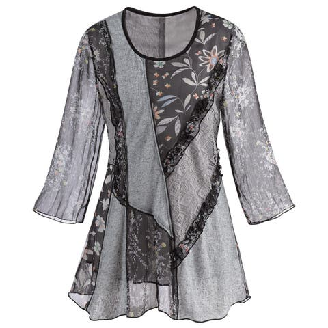 d3e0d801381 Adore Women's Patchwork Tunic Top -Mixed Lace & Floral Patterns 3/4 Bell  Sleeves