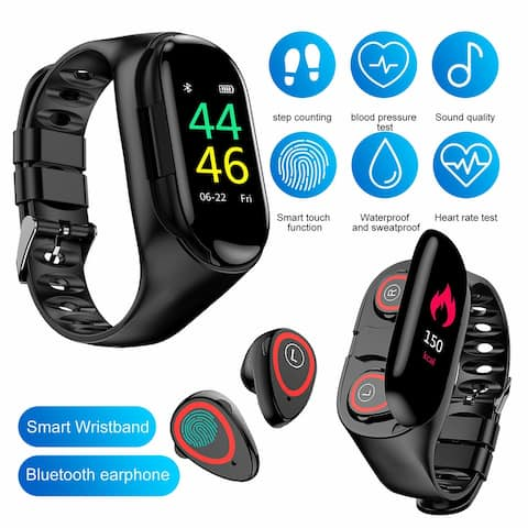 M1 Hybrid SmartWatch & EarBuds w/ BT 5.0 Sync , Fitness Suite [ Heart Rate, Blood Pressure, Pedometer] + Magnetic Charging Case