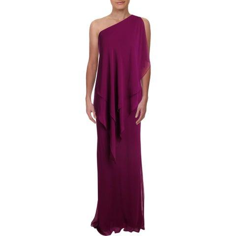 Lauren Ralph Lauren Womens Evening Dress One-Shoulder Georgette