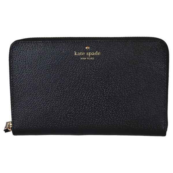 "Kate Spade Grand Street Black Leather Zip Around Travel Organizer Wallet - 9"" x 5.5"" x 1"""