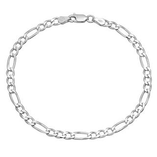 Mcs Jewelry Inc Sterling Silver 925 White Figaro Bracelet 8.1mm (8.5 Inches)
