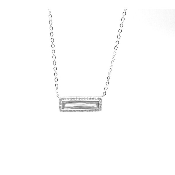 925 Sterling Silver Horizontal Bar Necklace with Cubic Zirconia all around