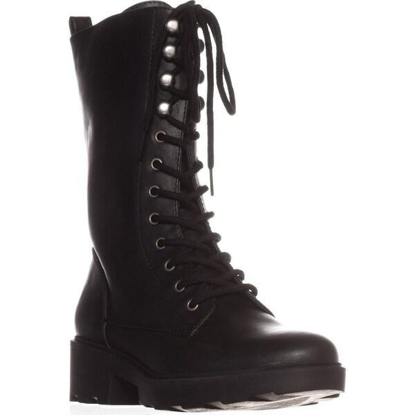 Seven Dials Kelci Mid-Calf Combat Boots, Black